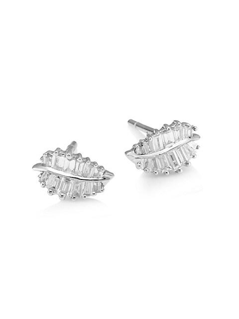 18K White Gold & Baguette Diamond Small Palm Leaf Stud Earrings