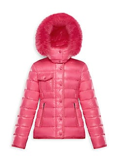 b87565081 ... Little Girl's & Girl's Armoise Fox Fur Trim Puffer Jacket DARK PINK.  QUICK VIEW. Product image