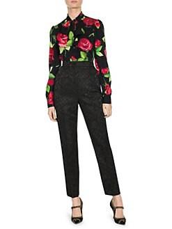 a45a760ffd73 Dolce & Gabbana. Stretch Silk Tie-Neck Rose Print Blouse