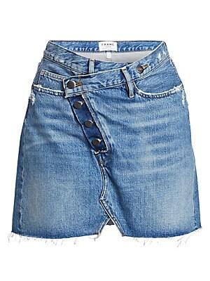 Ophelia Overlap Denim Mini Skirt by Frame