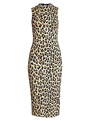 "Image of A bold and exotic piece, this leopard print dress flaunts a sculpted bodycon silhouette. Mockneck Sleeveless Concealed back zip Viscose/spandex/elastane Dry clean Imported SIZE & FIT Bodycon silhouette About 45.5"" from shoulder to hem Model shown is 5'10"""