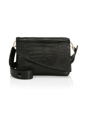 Nancy Gonzalez Large Olivia Crocodile Shoulder Bag In Black