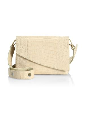 Nancy Gonzalez Large Olivia Crocodile Shoulder Bag In Cream