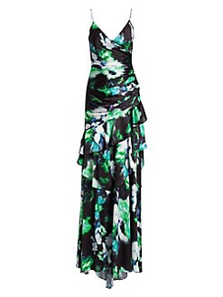 1bc973dfaff9 Product image. QUICK VIEW. Theia. Ruched Floral Gown