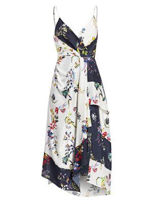Tanya Taylor Dresses Catia Asymmetrical Floral Silk Faux Wrap Dress