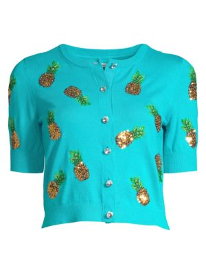 Alice And Olivia Brady Sequin Pineapple Cropped Cardigan