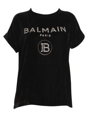 Balmain Glitter Logo Velvet Tee