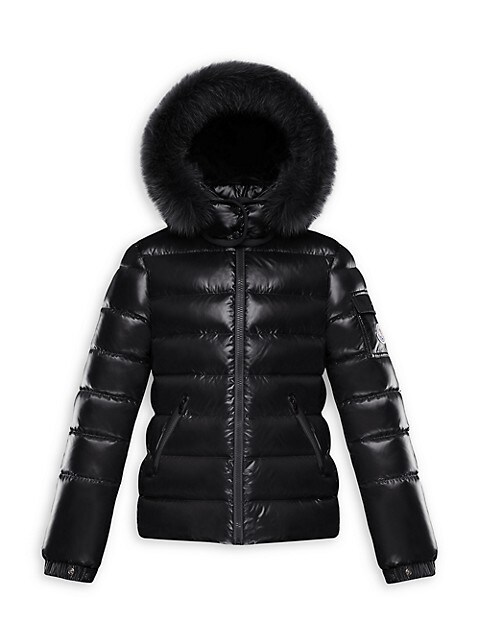 Little Girl's & Girl's Fox Fur-Trim Nylon Puffer Jacket