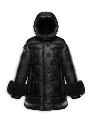Moncler Girl S Brionnais Fox Fur Trim Nylon Puffer Coat