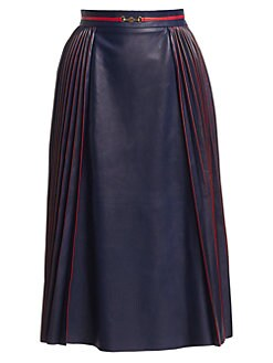 88797488f6cc QUICK VIEW. Gucci. French Plissé Pleated Leather Skirt