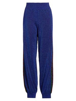 Gucci Women's Fine Wool Lurex Track Pants In Blue Red