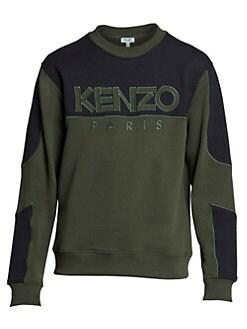 bf1db7f8 Kenzo - Mesh-Accent Logo Cotton Sweatshirt