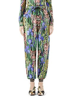 34369dc16a24 Product image. QUICK VIEW. Gucci. Feline Garden Silk Twill Joggers