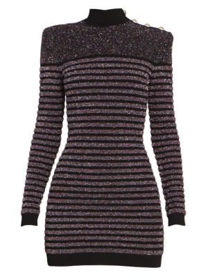 Balmain Short Long Sleeve Highneck Glitter Dress