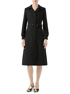 562cbf59394a1 QUICK VIEW. Gucci. GG Belt Wool Coat