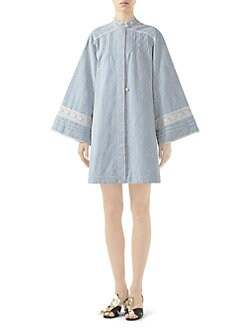 ed8a04798f9 Gucci - Washed Embroidered Chambray Long Sleeve Dress