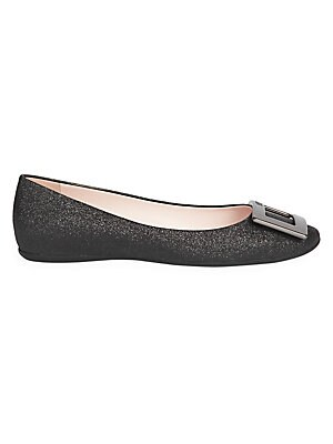 Image of A glossy square buckle elevates these glittering ballerina flats. Polyurethane upper Round toe Slip-on style Rubber sole Made in Italy. Women's Shoes - Roger Vivier Womens Shoe > Saks Fifth Avenue. Roger Vivier. Color: Black. Size: 40 (10).