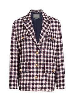 dd4b9a7b593 QUICK VIEW. Gucci. Lightweight Tweed Plaid Swing Jacket
