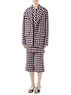 91ecd8a19 Gucci. Lightweight Tweed Plaid Swing Jacket