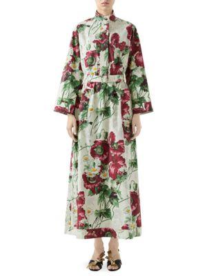 48f2a06db Gucci - Floral Print Silk Shirt Dress - saks.com