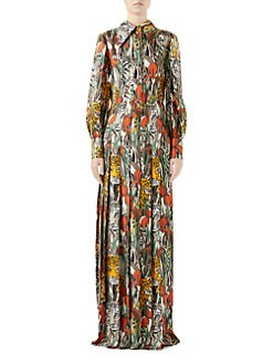 b03d97ccb Gucci - Feline's Garden Print Silk Maxi Dress
