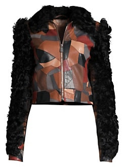 279a1a15e21 Michael Kors Collection. Cropped Patchwork Leather Shearling Jacket