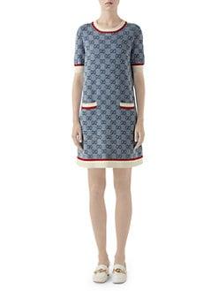 a369527fe Gucci. Fine Wool Intarsia Knit Short-Sleeve Dress