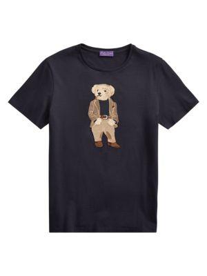 Ralph Lauren Purple Label Bedford Bear Embroidered Graphic T Shirt