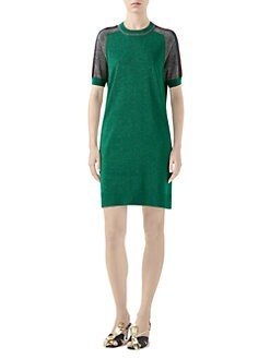 99bb2861b04 Gucci - Fine Wool Short Sleeve Dress with Contrast Stripe