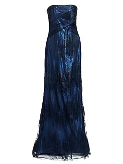 03ec5d3f669e7a Rene Ruiz Collection. Strapless Metallic Gown