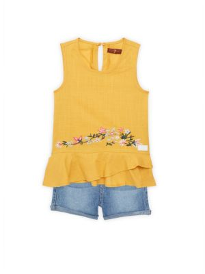 7 For All Mankind Little Girl S Two Piece Floral Embroidered Sleeveless Peplum Top Denim Shorts Set