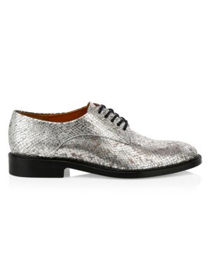 Clergerie Rose Metallic Snake-Embossed Leather Derby Shoes