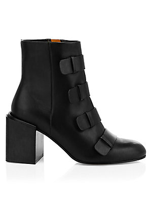 """Image of A chunky block heel and strap detail add edge to minimalist leather ankle boot. Leather upper Almond toe Side zip closure Leather lining and sole Made in France SIZE Stacked heel, 3.25"""" (80mm) Please note: Style runs small, we recommend ordering one half"""