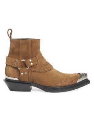 Balenciaga Santiag Harness Suede Western Boots