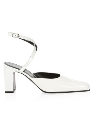 Balenciaga Patent Leather Point Toe Ankle Strap Sandals