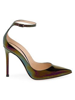 59ee3f23e8 Gianvito Rossi. Iridescent Leather Point Toe Ankle Strap Pumps