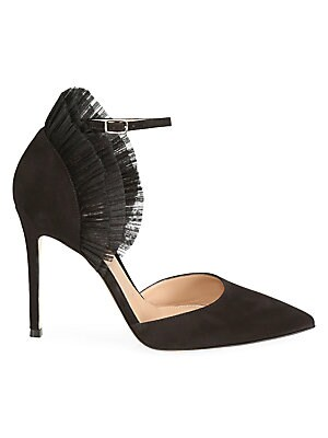 Annabelle Ruffled Tulle & Suede Pumps by Gianvito Rossi