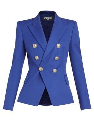 Balmain Wool Double Breasted Blazer In Bleu Gitane