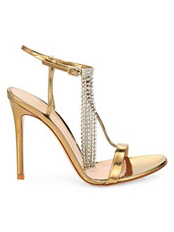 45692f9370ac Product image. QUICK VIEW. Gianvito Rossi. Gold Evening Crystal Fringe  Metallic Leather Ankle Strap Evening Sandals