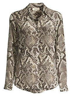c313fde7 L'Agence. Nina Python-Print Silk Long-Sleeve Shirt