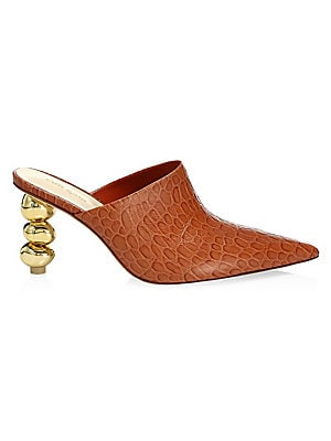 """Image of A reptilian print adorns these sleek leather mules while a polished rounded stacked heel adds abstract appeal. Leather upper Point toe Slip-on style Leather lining Leather sole Dust bag included Imported SIZE Geometric heel, 3"""" (76mm). Women's Shoes - Con"""