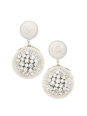 Rebecca De Ravenel Pomegranate Crystal Embellished Clip On Double Drop Earrings