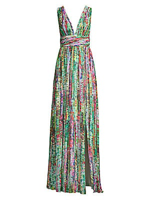 Printed Chiffon Maxi Dress by Aidan By Aidan Mattox