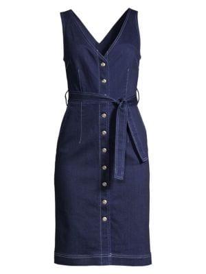 3x1 Dresses Albany Tie Waist Denim Sheath Dress