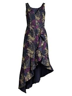 53122ef016 Aidan Mattox. Jacquard Print Asymmetric Midi Dress