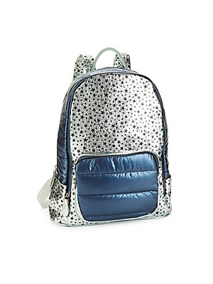 """Image of A metallic star-print body is paired with sporty quilted panels for a statement-making look. One zip compartment Front zip pocket Backpack straps Polyester Spot clean Imported SIZE 21""""H x 14""""W. Children's Wear - Infant Toys And Gifts > Saks Fifth Avenue."""