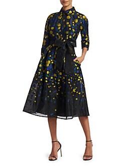 8d6924eeac3 Teri Jon by Rickie Freeman. Floral Bow Shirt Dress