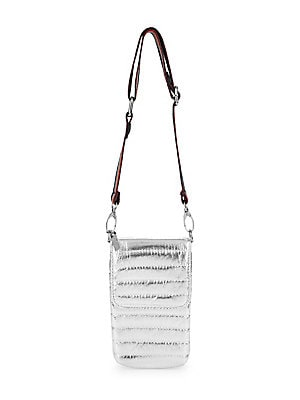 "Image of A multicolor rainbow strap adorns quilted metallic silver bag. Adjustable, removable shoulder strap Flap closure Silvertone hardware Fully lined Polyester/polyurethane/aluminum Spot clean Imported SIZE 3""W x 8""H x 1""D. Children's Wear - Infant Toys And Gi"