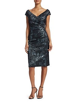 498df9f29d9 Teri Jon by Rickie Freeman. Off-Shoulder Ruched Jacquard Sheath Dress