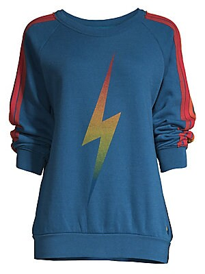 Image of A jaunty lightning bolt zigzags down the front of this soft crewneck sweatshirt, with stripes on the arms adding the finishing touch. Crewneck Long raglan sleeves Pullover style Cotton/polyester/rayon Hand wash Made in USA SIZE & FIT Longline silhouette A